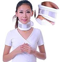 JORZILANO Ventilación Soporte Fijo Cuello Ayuda Ajustar el Cuello de la Espina Dorsal Cervical con Dispositivo de tracción Cervical, White, l