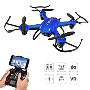Drone with Camera, Potensic® F186WH Hover RC Drone RTF Altitude Hold Mini Quadcopter UFO with 2MP WiFi Camera and Stepless-speed Function - Blue by Potensic