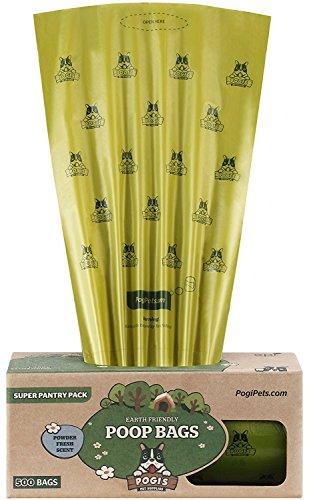 Pogi's Poop Bags - Bolsas para excremento de Perro - 500 Bolsas para despensas y Estaciones de residuos al Aire Libre - Grandes, Biodegradables, Perfumadas, Herméticas (Rollo Grande Único)
