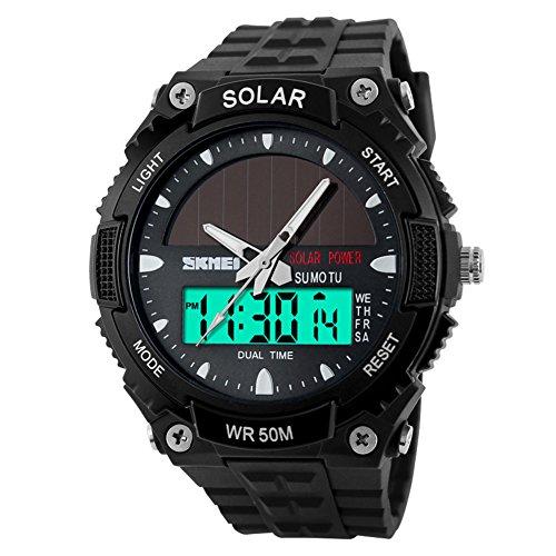 Männermode solar-Uhren/Wasserdichte elektronische Zweikanalüberwachung/Outdoor Sport Uhr Schüler Herrenuhr-E