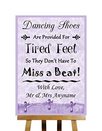 Lilla Shabby Chic Collection scarpe da ballo Flip Flop piedi stanchi personalizzato stampato di Matrimonio Segno, Purple, Large A3