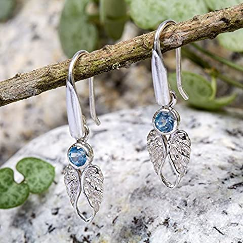 Blue Topaz Silver Angel Wing Drop Earrings