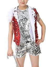 Yudesun Ropa Danza Niña Vestidos - Niños Niño Tap Dance Jazz Disfraces  Lentejuelas Trajes Conjuntos Chaleco 22620c47609