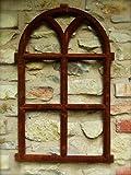Antikas | Eisenfenster mit Rundbogen | 98 x 54 cm | Fenster aus Gusseisen in antik Stil | für Gartenmauer, Gartenhaus und als Stallfenster