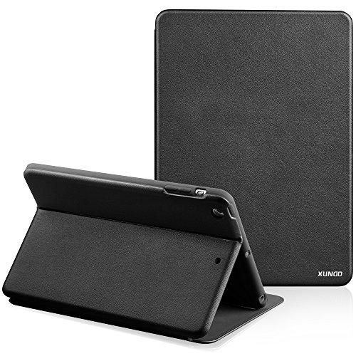 iPad 2/3/4 Klapphülle, XUNDD Flip Book Case Cover Synthetisches Leder & weiches TPU Stand Echt Leder Tasche hülle für iPad 2/3/4 Handyhülle im Bookstyle mit Magnetische Wake & Sleep Funktion, schwarz