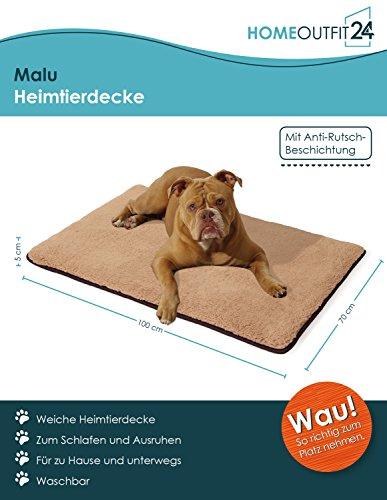 Homeoutfit24 Malu Hundedecke M 100 x 70 x 5 cm braun beigewaschbar weich Plüsch kuschelig Fell Bezug Hundebett Hundematte Hundekissen - 3