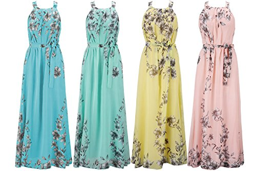 Ladies Floral Summer Chiffon Dresses Boho Evening Dress Cocktail Party Ball Gown Maxi Dresses Womens Long Summer High Waist Vintage Dress 6 8 10 12 14 16 18 20 22 24 26 28 30