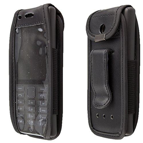 caseroxx Handy-Tasche Ledertasche mit Gürtelclip für Nokia 216 aus Echtleder, Handyhülle für Gürtel (mit Sichtfenster aus schmutzabweisender Klarsichtfolie in schwarz)