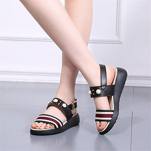Weibliche Sandalen Sommer dicke Hang mit Sandalen Schwarz