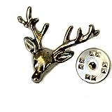 Deluxico Deer Head Lapel Animal Pin Brooch for Unisex (Black)