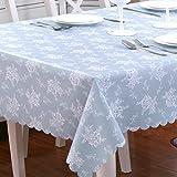 HM&DX Jacquard Tischdecken Wasserdicht Auslaufsicher Dekorationen Tischtuch schutzfolie folie Tisch für esszimmer küche-blau 130x190cm(51x75inch)