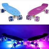 MAKANIH® S-Ryder - Skateboard für Kinder mit Leuchtrollen und 6 LED Klebelichter - verschiedene Designs für Jungen und Mädchen - 1 Jahr Herstellergarantie
