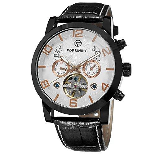 FORSINING Men's Unique New Design Luxury Automatic Movement Popular Style Genuine Leather Strap Wristwatch (Crown Jewels Modeschmuck)