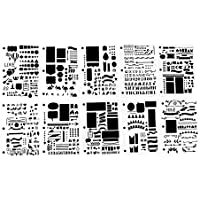 VEESUN Zeichenschablonen Set, Kunststoff Schablonen Malen Bullet Journal Zubehör Scrapbook Zubehör DIY Geschenk für Tagebuch Notizbuch fotoalbum Gästebuch, 7 x 10.4 Inch 10 Stück