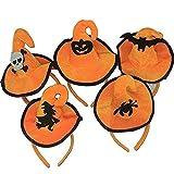 Halloween Stirnband, Kürbis Haarband Schädel Haar Spange Spinne/Fledermaus /Orange Hexe Hut Haare hoop Cosplay Kostüm Zubehör Kopfschmuck Haarschließe für Kinder Erwachsene Party Dekoration (5 PCS)