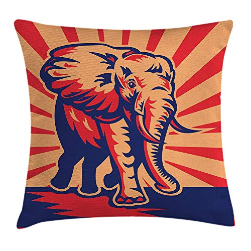 Retro Poster Decor Throw Pillow Cushion Cover by, Pop Art Funny African Bull Elephant Figure Wildlife Artisan Graphic, Decorative Square Accent Pillow Case, 18 X 18 Inches, Scarlet Peach
