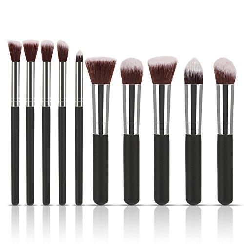 LIHAO 10tlg Pinselset Kosmetik Make-Up mit Leder-Etui Lidschatten Gesichtspinsel Concealer Bürsten