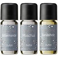 Duftöl Set - herbe Düfte - Sandelholz, Moschus, Bittermandel - Aromaöl für Duftlampe und Diffuser von miaono preisvergleich bei billige-tabletten.eu