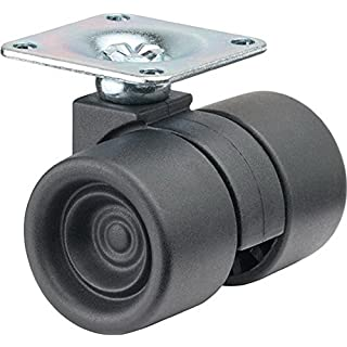 BS Rollen Design-Kunststoffdoppel-Lenkrolle, Anschraubplatte, Kunststoffrad, 38 mm, schwarz, F390.038