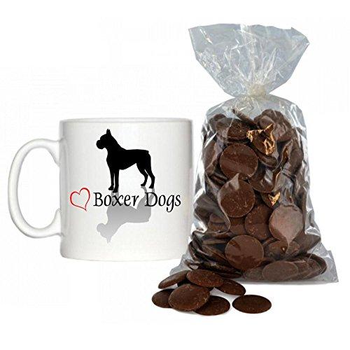 Stilvolles Herz Boxer Hunde Design 170,1Espresso Tasse inkl. 200g Beutel von Milch Schokolade Tasten.