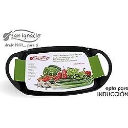 San Ignacio IN125 - Parrilla plana, apta para inducción, 36,5 x 23 cm, color negro y verde