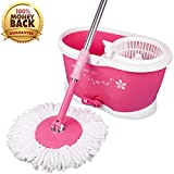 #7: Spin Mop Bucket - Easy Press Mop Bucket Set with 2 Microfiber Heads - 360 degree Rotation Push & Pull - Liquid Drain Hole - Easy Wring with Reusable Mop Heads - Free Soap Dispenser