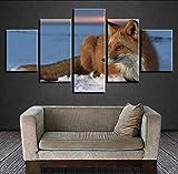 Ysurehom Leinwand Gemälde Für Wohnzimmer Wohnkultur Modulare Hd Drucke 5 Stücke Winter Schnee Fuchs Poster Tierbilder Wandkunst Rahmen
