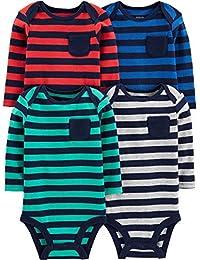 Simple Joys by Carter\'s 4-Pack Soft Thermal Long Sleeve Bodysuits Bebé-Niños, Pack de 4