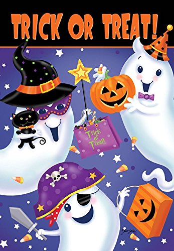 ASKYE Trick or Treat Halloween House Flag Ghosts Spooky Candy Jack O'Lantern for Party Outdoor Home Decor(Size: 12.5inch W X 18 inch H)