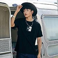 MN Camiseta de Manga Corta con Estampado de Cuello Suelto en algodón Negro de Verano para Hombres,Negro,L