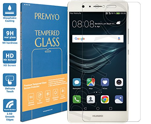 PREMYO Huawei P9 Lite Panzerglas. Huawei P9 Lite Displayschutzfolie mit Härtegrad 9H und abgerundeten Ecken 2,5D. Huawei P9 Lite Schutzglas