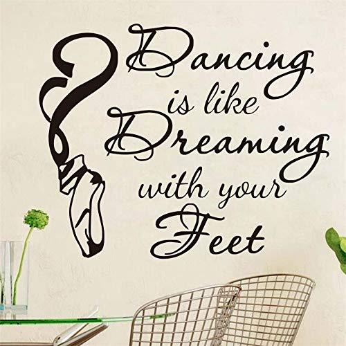 Bailar es como vestirse con Tus pies Cita Etiqueta de la Pared Decoración para el hogar Zapatos de Baile DIY Vinilo Arte Habitación para niños Etiqueta de la Pared Blanco 72cm X 58cm