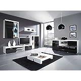 JUSThome Conjunto Simba C Mueble de salón comedor Blanco Negro