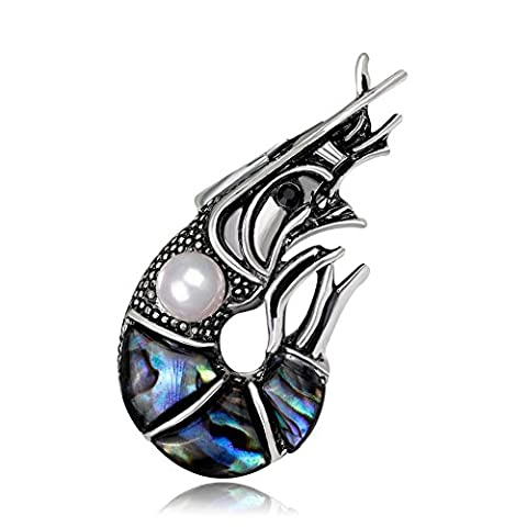 Lureme Vintage Abalone Shell avec Simulated Pearl Lobster Brooch Pin unisexe Women & Men (br000074)