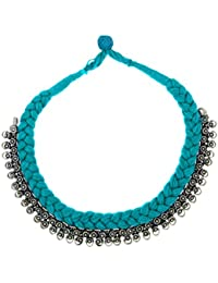 The Jewelbox Tribal Bohemian Oxidized German Silver Plated Handmade Blue Thread Choker Necklace For Women