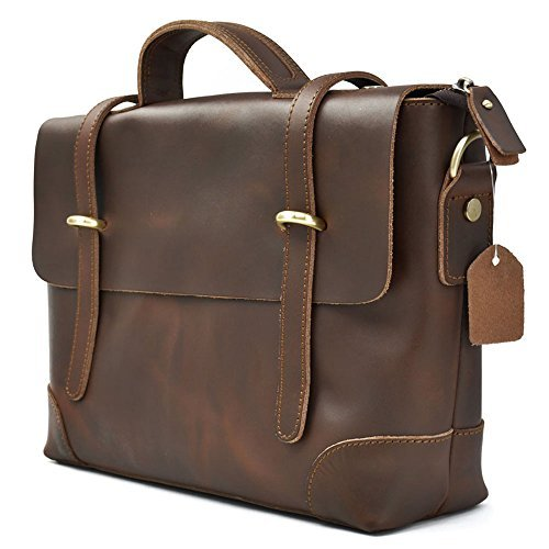 Herren Vintage echtem Leder Aktentasche messenger Tasche, fit 35,6cm Laptop - Usa Echte Aktentasche