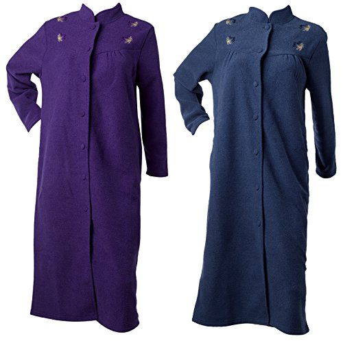 Waite Ltd Ladies Button Up Anti Pill Terry Fleece Dressing Gown Embroidered Floral Housecoat (Various Colours)