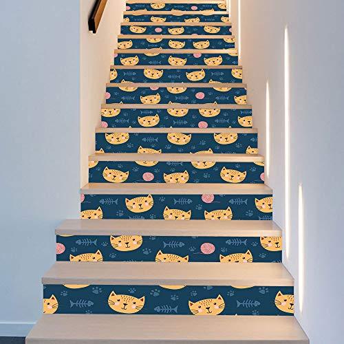 HOP 13 Stück Gelb Kleine Nette Katze Nordic Kinderzimmer Dekoration Treppe Mode Kreative Schritt Dekoration Kunst Decor Wandtuch 18 * 100 cm ()