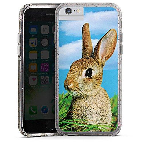 Apple iPhone 7 Bumper Hülle Bumper Case Glitzer Hülle Rabbit Kaninchen Hase Bumper Case Glitzer rose gold