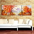 "12""-24\"" Autumn Maple Forest Wall Clock In Canva 3pcs produced by LILAS - quick delivery from UK."