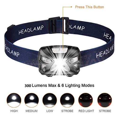 Linterna Frontal LED USB Recargable 1200mAh,  Linterna Cabeza 8 Modos Sensor de movimiento,  Linternas LED alta Potencia 6000K 300LM IPX4 Impermeable para Camping,  Excursión,  Pesca,  Carrera,  Ciclismo