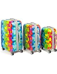 """Set de 3 maletas duras de 20"""", 24"""" y 28"""" con 4 ruedas y candado TSA 3 digitos"""
