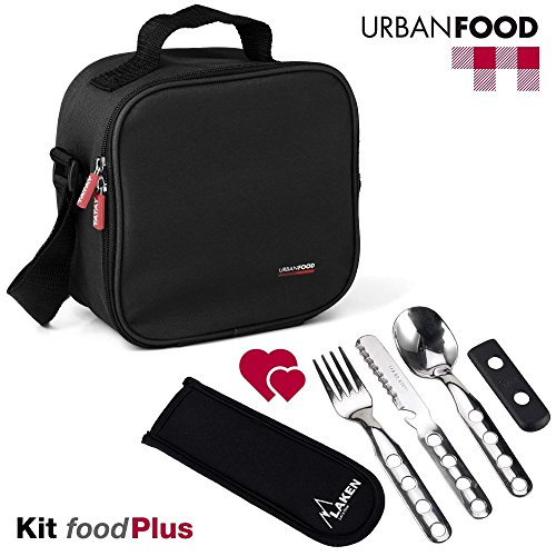 TATAY Black Urban Food Kit with Cutlery - Thermal Lunch Box Bag Food with Airtight Food Storage Containers Included, Measurements 10 x 22.5 x 22 cm