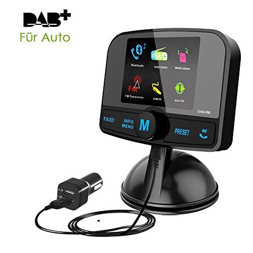 Onlyesh DAB Auto Radio Empfänger Adapter, DAB Plus Autoradio FM Transmitter Bluetooth MP3 Musik mit Guten Ton-Qualität Freisprecheinrichtung 2.4 Zoll Bunt LCD Display USB Auto Ladegerät MEHRWEG -