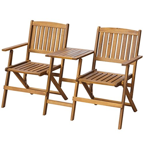 Festnight Gartenstuhl Balkonstuhl Gartenbank mit Teetisch Solides Akazienholz Klappbar (Faltbare Sitzbank Tisch)