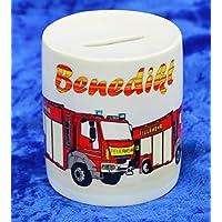 Spardosen bedruckt Keramik - Motiv Feuerwehr mit Ihrem Wunschnamen