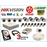 Hikvision 8 Ch Turbo HD Dvr and Mersk Full HD (4MP) CCTV Camera Kit with All Required Accessories (2 TB Hard Disk) Note : No Installation Service