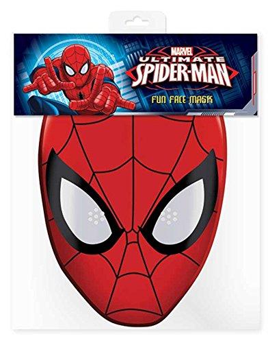 Spider Man - Marvel Maske Papp Maske, aus hochwertigem Glanzkarton mit Augenlöchern, Gummiband - Grösse ca. 30x20 (Spiderman Maske Kostüme Herren)
