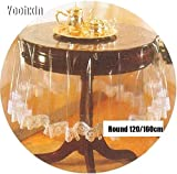 MIRACLE BLACK New PVC Plastic Lace Soft Glass Round Transparent Oilcloth Tea Table Cloth Cover Waterproof Tablecloth Christma
