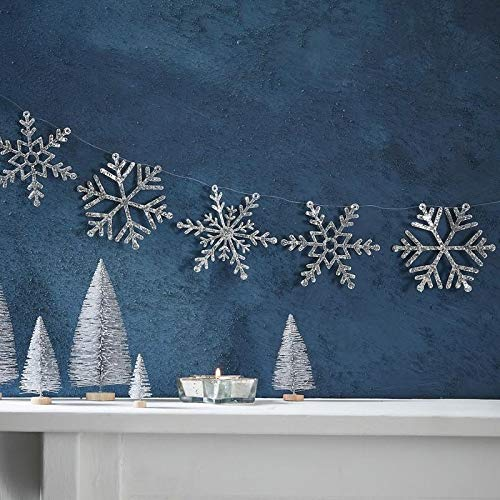 Silver Glitter Snowflake Garland - Silver Christmas (Silver Christmas Garland)